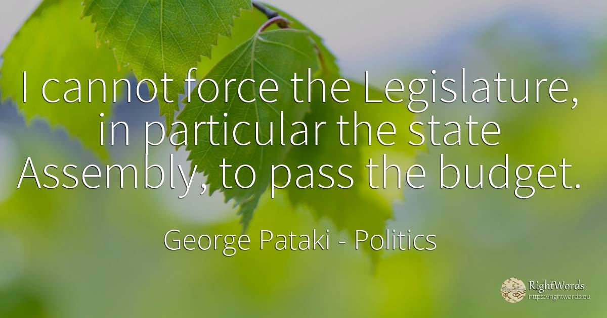 I cannot force the Legislature, in particular the state... - George Pataki, quote about politics, force, police, state