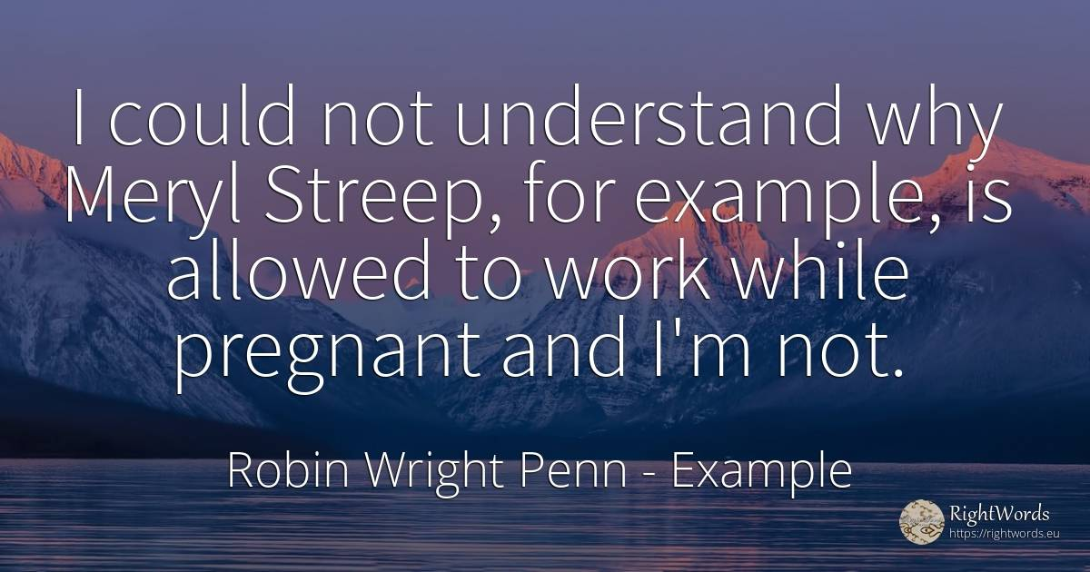 I could not understand why Meryl Streep, for example, is... - Robin Wright Penn, quote about example, work