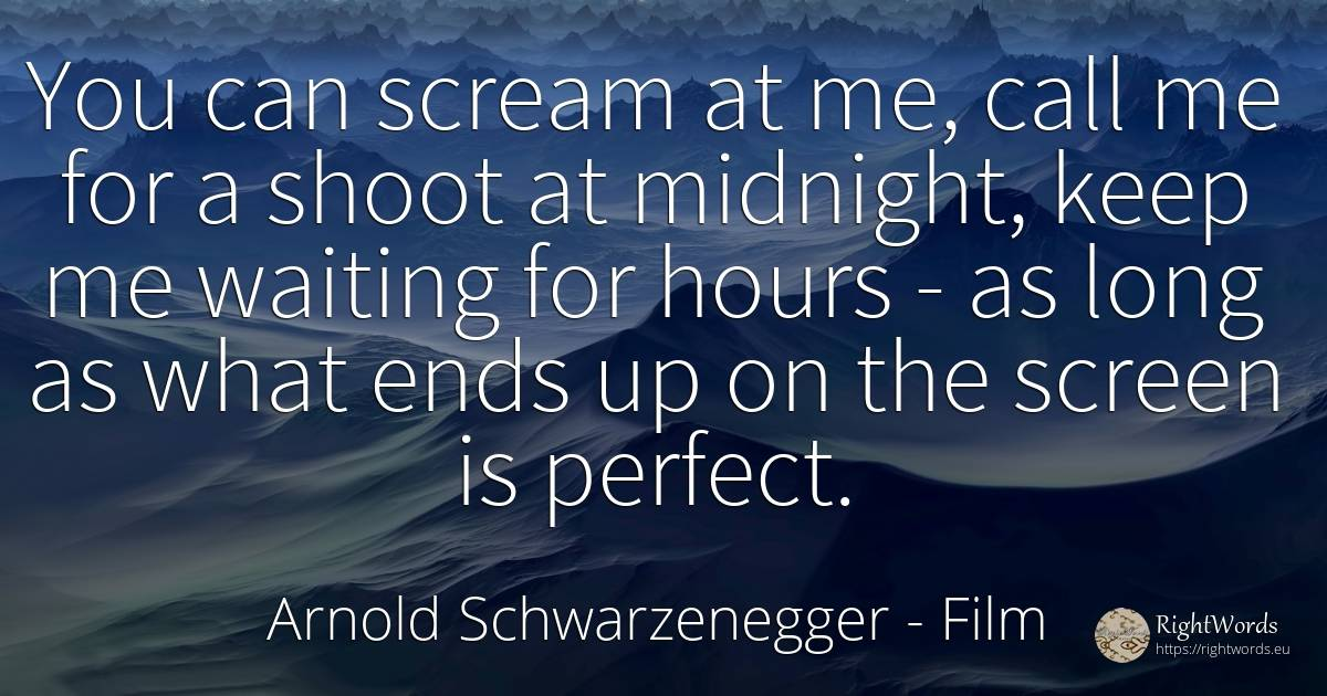 You can scream at me, call me for a shoot at midnight, ... - Arnold Schwarzenegger, quote about film, end