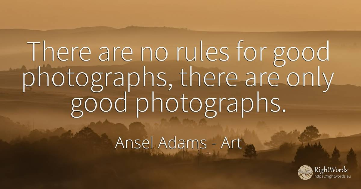 There are no rules for good photographs, there are only... - Ansel Adams, quote about art, rules, good, good luck