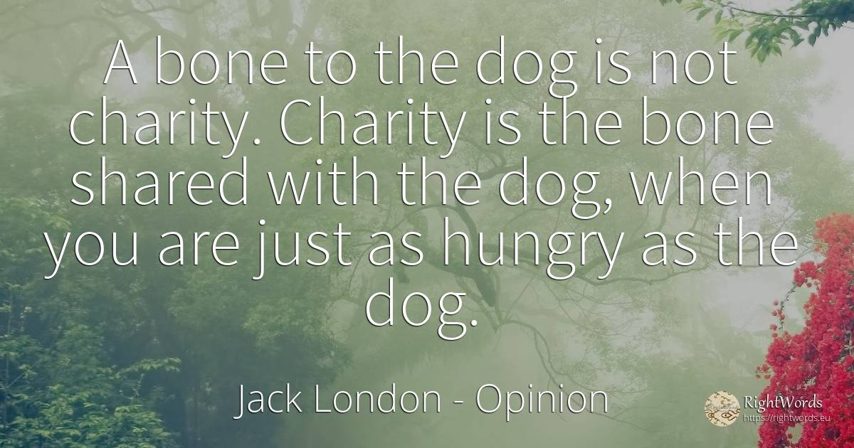 A bone to the dog is not charity. Charity is the bone... - Jack London, quote about opinion, charity