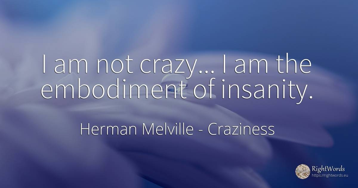 I am not crazy... I am the embodiment of insanity. - Herman Melville, quote about craziness