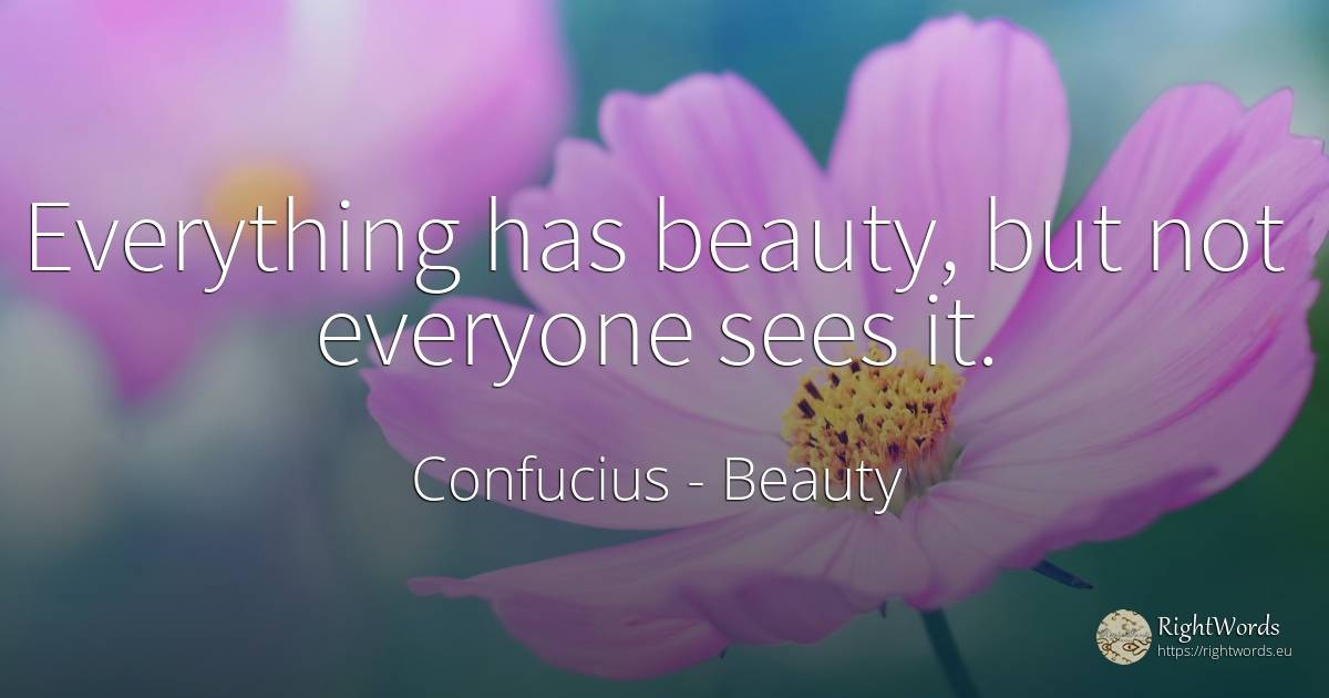 Everything has beauty, but not everyone sees it. - Confucius, quote about beauty