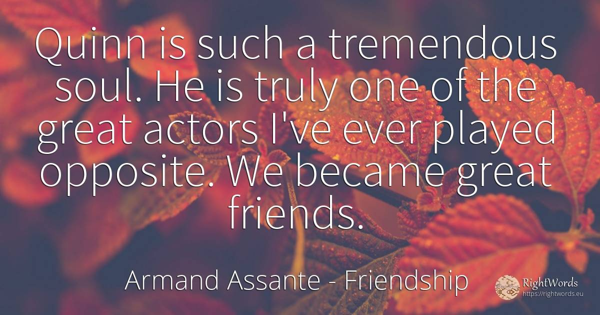 Quinn is such a tremendous soul. He is truly one of the... - Armand Assante, quote about friendship, actors, soul