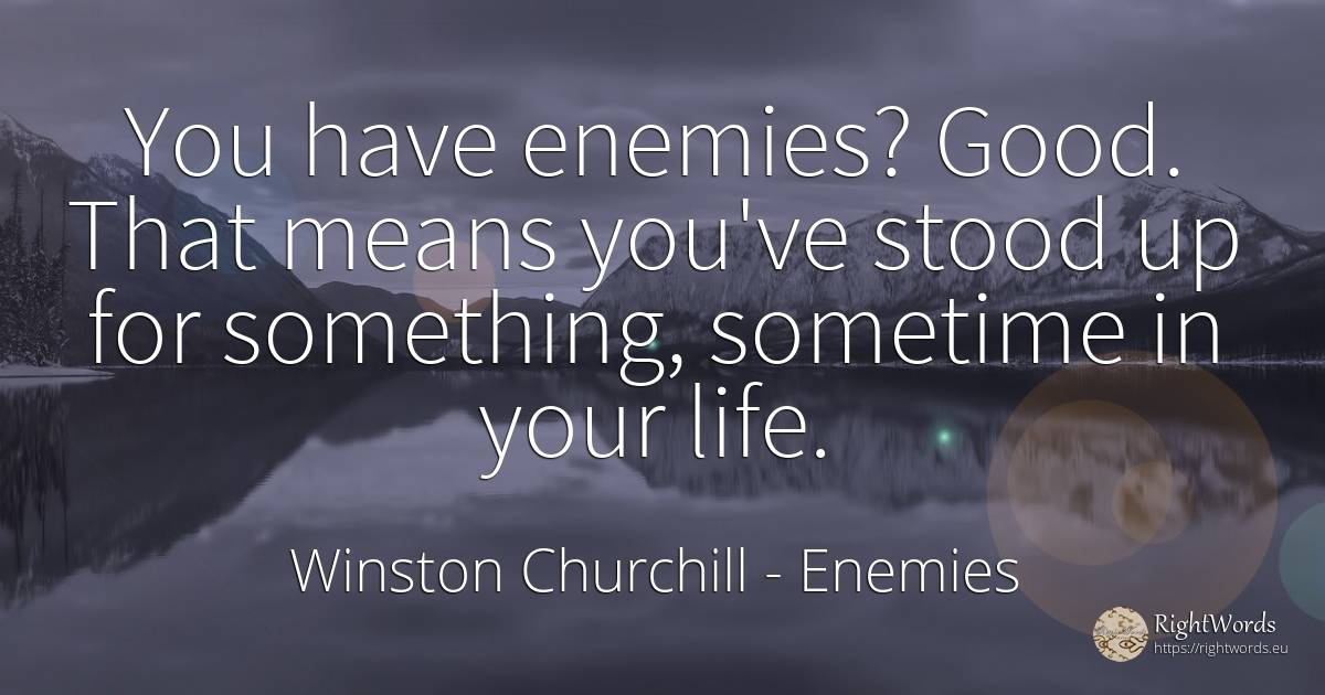 You have enemies? Good. That means you've stood up for... - Winston Churchill, quote about enemies, good, good luck, life