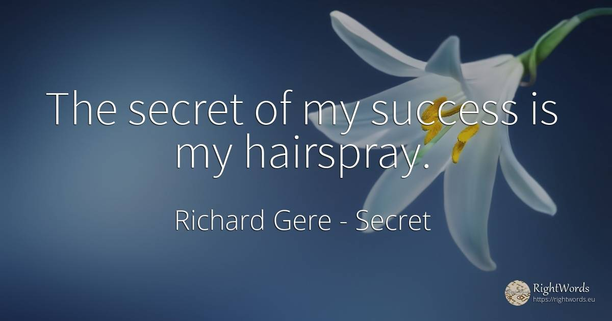 The secret of my success is my hairspray. - Richard Gere