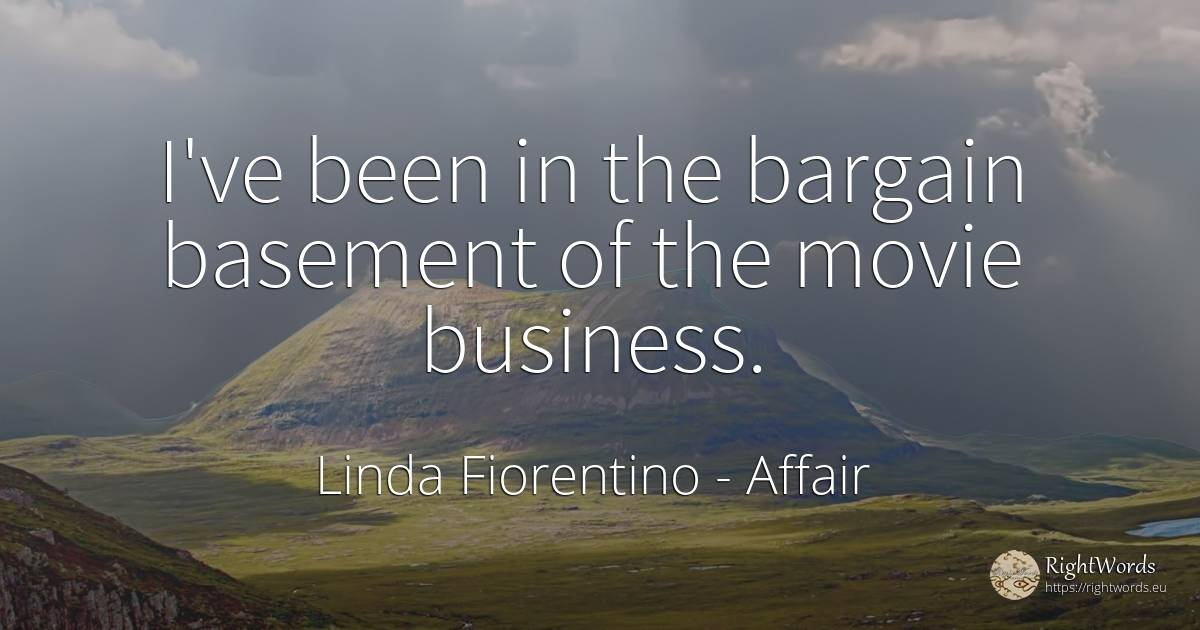 I've been in the bargain basement of the movie business. - Linda Fiorentino, quote about affair