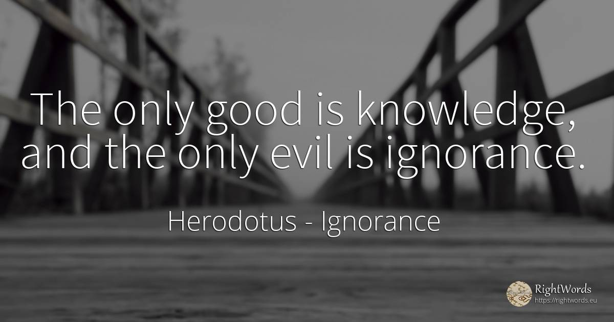 The only good is knowledge, and the only evil is ignorance. - Herodotus, quote about ignorance, knowledge, good, good luck